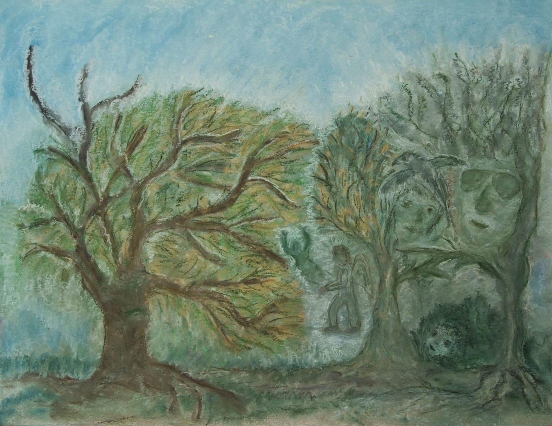 Gesichter in Bäumen und ein Engel.